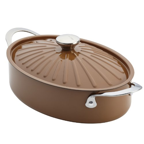 Rachael Ray Cucina Hard Porcelain Enamel Nonstick Covered Oval Sauteuse, 5-Quart, Mushroom Brown