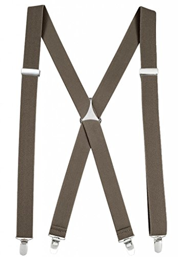 Suspenders for Women Elastic X-back Adjustable Straight Clip on -Olive (Tall, 54