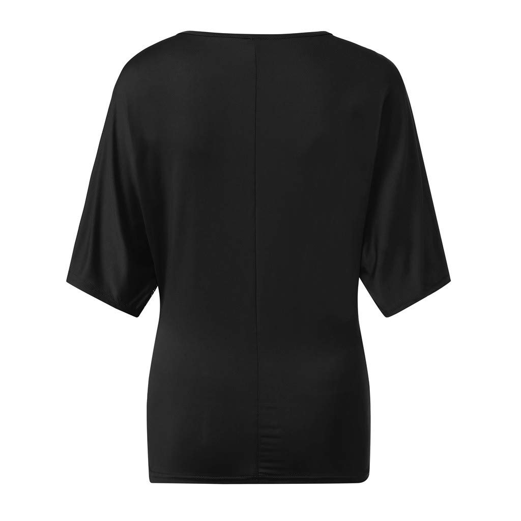 Womens Summer Sequin Short Sleeve Round Neck Tops Loose Gym Workout T-Shirt by Nevera Black