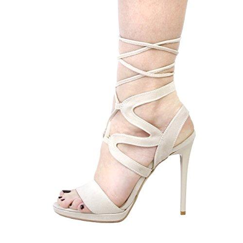V 1969 - ROSALIE_BEIGE Sandalias De Vestir De Encaje Para Mujer Tacón 11.5 cm, Meseta 1 cm