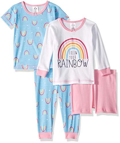 Gerber Baby Girls 4-Piece Pajama Set, Rainbow, 12 Months