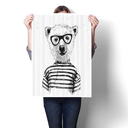 (SCOCICI1588 Modern Art Picture Colorful Canvas Print Dressed Up Hipster Nerd Smart Male in Glasses Fun Character Animal Artful Artwork for Kitchen Room Decor,12