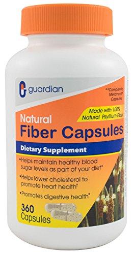 (Guardian Fiber Capsules, Natural Psyllium Husk Supplement, 360 Count (520mg per Capsule), Fiber Pills)