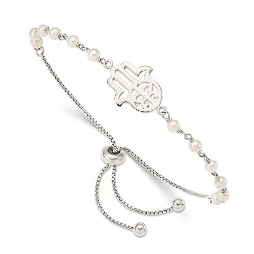925 Sterling Silver Hamsa Freshwater Cultured Pearl Adjustable Bracelet 9 Inch Stretch Wrap Fine Jewelry Gifts For Women For Her