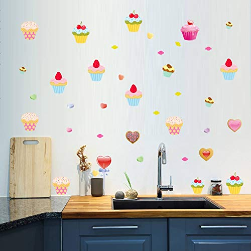 BUCKOO Sweet And Seductive Colored Art Cake Wall Decal Sticker,colorful Candy Wall Sticker,kitchen Restaurant Wall Decoration Home Decor