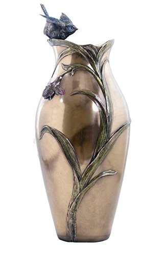 XoticBrands Decorative 14.76 Inch Orchid and Blue Tit Vase - Animal, (H) 14 3/4, Bronze