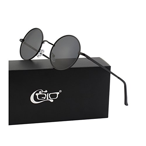 CGID E01 Small Retro Vintage Style Lennon Inspired Round Metal Circle Polarized Sunglasses for Women and Men