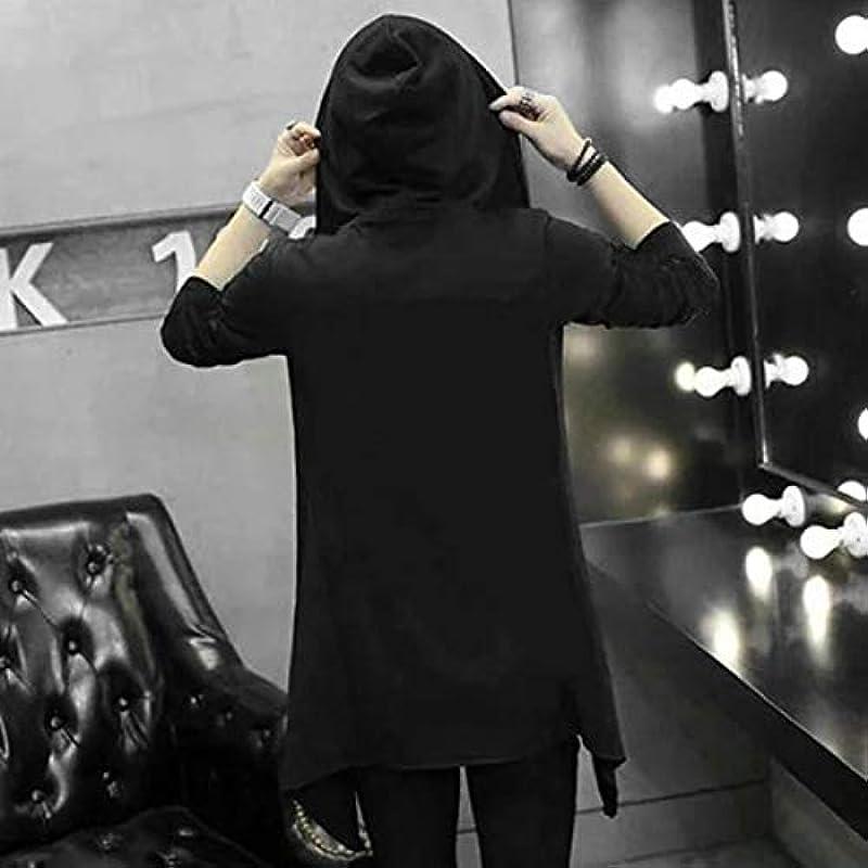 Greatangle Frühling Herbst Dark Man Long Section Windbreaker Kapuzenpullover Umhang Long Hooded Cardigan Trench Outwear Mantel für Männer: Küche & Haushalt