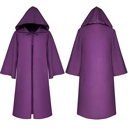 Dasior - Albornoz Unisex con Capucha para Disfraz de Halloween, Cosplay, Caballero, Violeta, Adulto Small