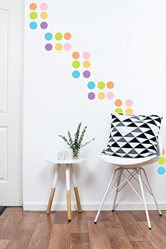Polka Dot Wall Decals Multicolor Pastel (220 2 inch Decals) Easy Peel and Stick Matte Finish Removable Decals Safe on Painted Walls