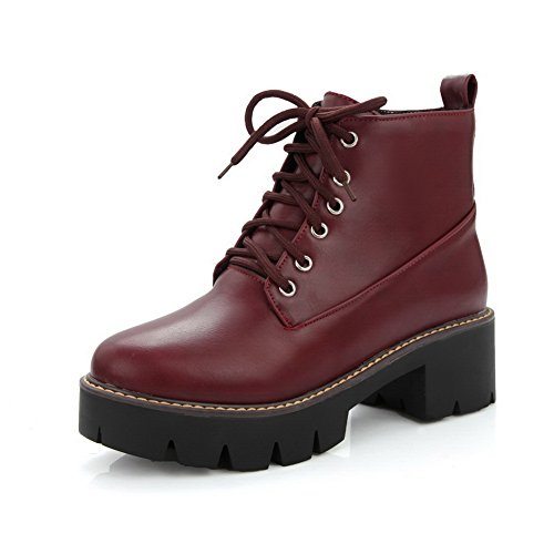 1TO9 Womens Boots Low-Top Lace-Up Adjustable-Strap Kitten-Heel Waterproof Warm Lining Round-Toe Slip-Resistant Urethane Boots MNS02505 Red 4Re82AR
