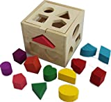 Wooden Shape Sorting box Cube Square Baby First Blocks Toy for Montessori Preschool Early Learning Educational by PeGuCo