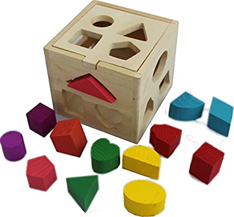 Wooden Shape Sorting box Cube Square Baby First Blocks Toy for Montessori Preschool Early Learning Educational by (Montessori One Year Old)