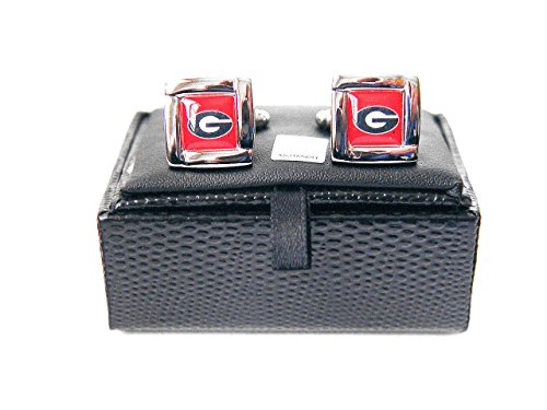 - aminco NCAA Georgia Bulldogs Square Cufflinks with Square Shape Engraved Logo Design Gift Box Set