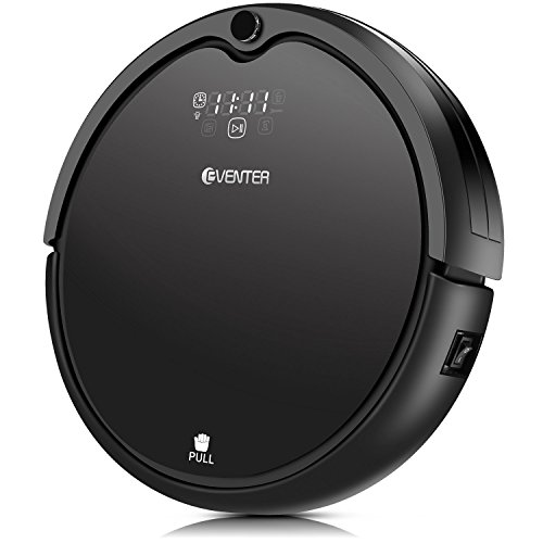 Robot Vacuum Cleaner with Powerful Suction, Automatic Self-Charging, Filter for Pet Hair, Daily Schedule, Drop Sensing, Slim Design, for Hard Surface Floors Wood Floors Tile, Upgraded (Black)