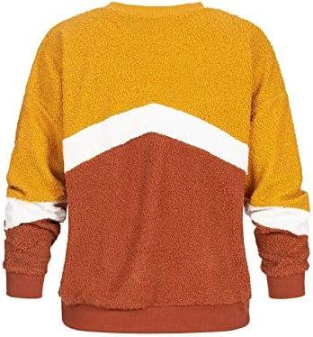 Hailys Damen Pullover Colorblock Sweater Teddyfell Pulli