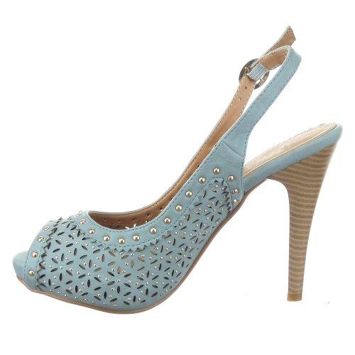 Sopily - damen Mode Schuhe Pumpe Stiletto Nieten - besetzt - Blau
