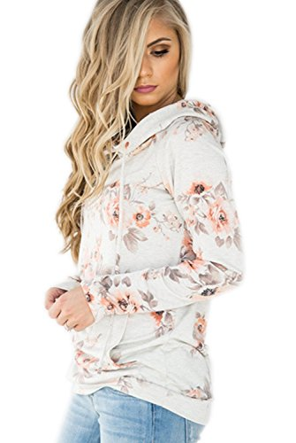 EIFFTER Women Floral Print Pullover Hoodie Casual Long Sleeve Drawstring Hooded Sweatshirt with Pocket (X-Large, White)