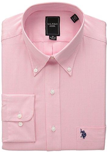 U.S. Polo Assn. Men's Mini Houndstooth, Pink, 15-15.5x34/35