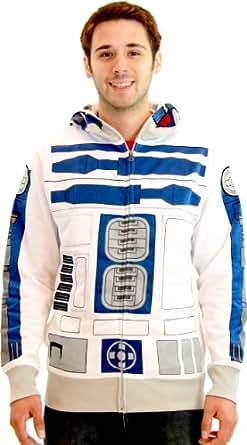 Star Wars R2-D2 Adult White Costume Zip Up Sweatshirt (Adult XX-Large)