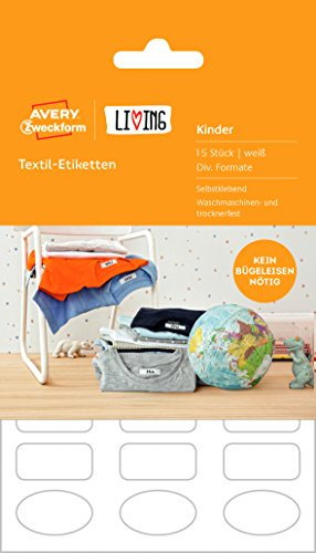 Avery Zweckform 62033 Living Textil Etiketten (Namensetiketten, waschmaschinen- trocknerfest, diverse Formate) 15 Stück weiß
