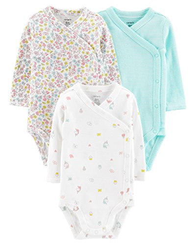 (Carter's Baby Girls' 3-Pack Side-Snap Bodysuits (3 Months, White/Unicorn))