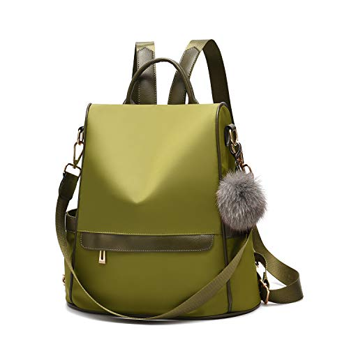 Women Backpack Purse Nylon Anti-theft Fashion Casual Lightweight Travel School Shoulder Bag (Olive Green) (The Best Travel Purse)