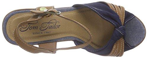 TOM TAILOR Damen Damenschuhe Knöchelriemchen Blau (Navy)
