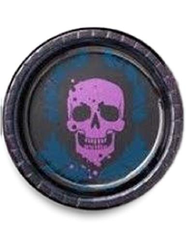 Hyde and Eek! Halloween Skull Paper Dinner Plates Day of The Dead Party Supplies for Appetizer, Lunch, Dinner, and Dessert, Dia De Los Muertos Skull Design, 8.5 Inches in Diameter -