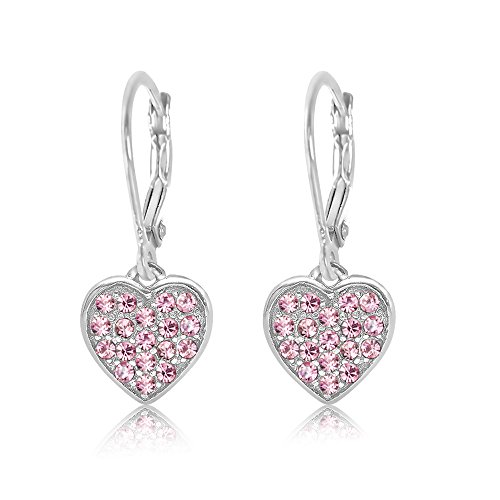 Kids Earrings - 925 Sterling Silver with a White Gold Tone Classic Clear Heart Secure Leverback Earrings kids, children, girls, baby Made With Swarovski (Child Kid Earring)