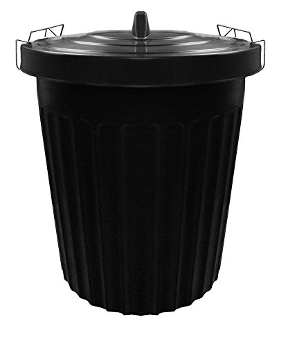 Large 100 Litre BLACK Plastic Bin Rubbish Waste Dustbin Animal Feed Seed Storage with Locking Lid S&MC Gardenware