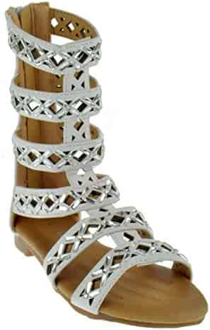 2683aa10180 Link Rome 17K Little Girls Strappy Mid Calf Rhinestone Gladiator Sandals