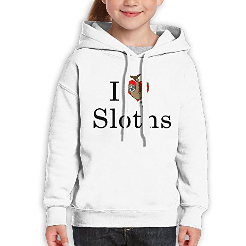 Price comparison product image Anraglan Love Sloth Girls Long Sleeve Pullover Hooded Sweatshirt White Size XL