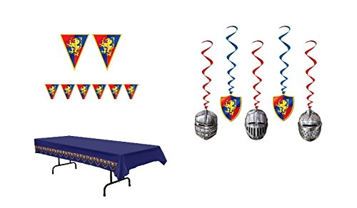 MEDIEVAL Party Knights DECORATIONS - Tablecloth DANGLING Whirls & Pennant Banners - MIDDLE Ages DECOR Parties by (Medieval Pennant Banner)