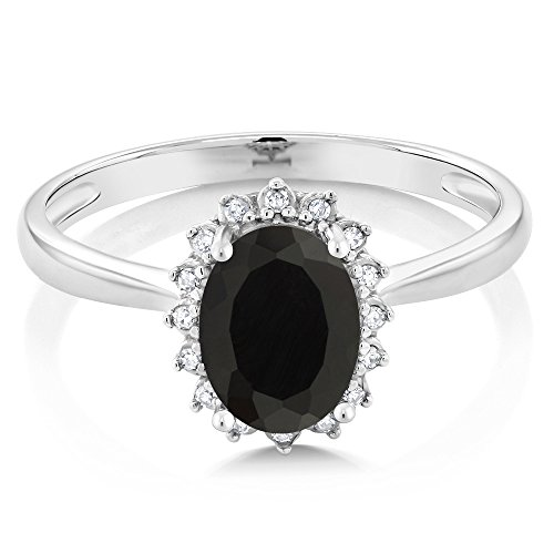 10K White Gold Oval Black Onyx & Diamond Women's Engagement Ring (1.25 Cttw, Available in size 5, 6, 7, 8, 9)