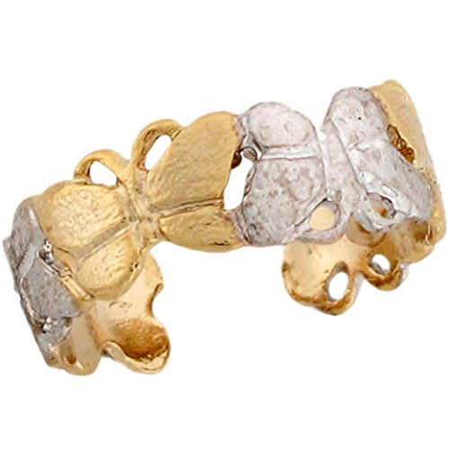 Two-Toned 14k Real Gold Butterfly Wrap Around Band Ladies Toe Ring by Jewelry Liquidation (Image #2)