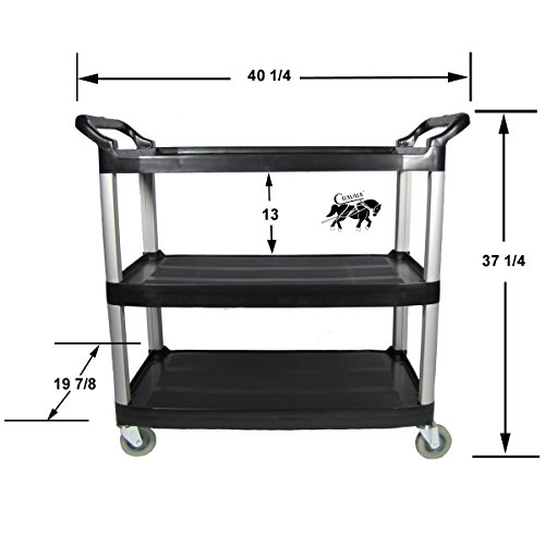 Rolling Utility Cart, Crayata Multi-Purpose 3 Shelf Cart with Heavy Duty Plastic Shelves and Oversized Wheels, Black (Large) (Food Cart On Wheels compare prices)
