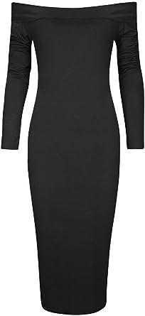 New Celeb Style Ladies Half Sleeve Stripe Bodycon Stretch Party Dress Black
