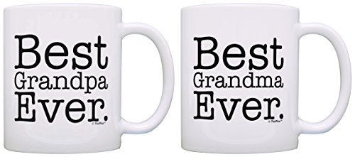 Best Grandma Grandpa Ever Grandparent Diamond Anniversary 2 Pack Gift Coffee Mugs Tea Cups White (Best Anniversary Gift Ever)