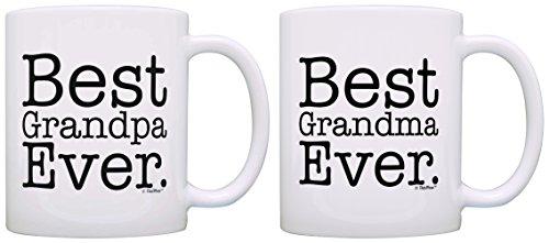 Best Grandma Grandpa Ever Grandparent Diamond Anniversary 2 Pack Gift Coffee Mugs Tea Cups White