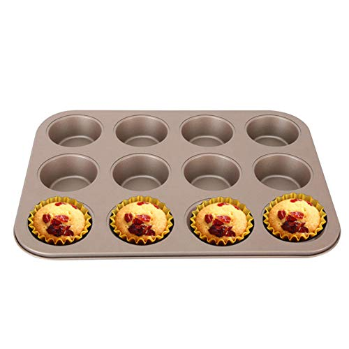 putdWH99 12 Grids Carbon Steel Non-Sticky DIY Muffin Cup Cake Mold Baking Pan Bakeware