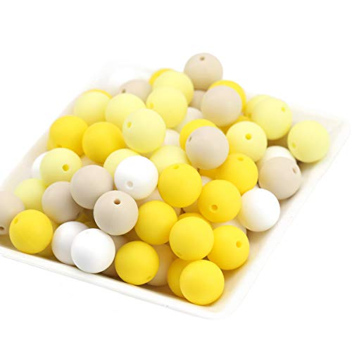 Baby Love Home 100pcs 12mm Baby Accessories Yellow Series Silicone Balls Chewable Teething Toys Infant Shower Gifts