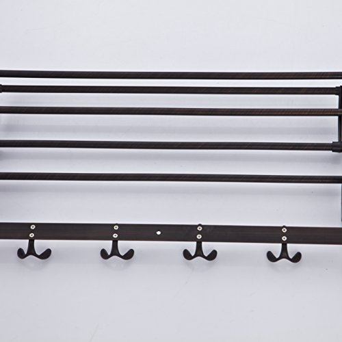 low-cost Rozinsanitary Oil Rubbed Bronze Bath Towel Holder Wall Mount Folding Towel Rack with Hooks