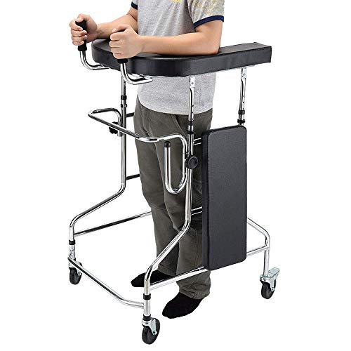 ZXL Walker Portable Folding with Brake Casters and Seat Plate, Can Sit and Stand, Height Adjustable, L73×W63×H100-125cm