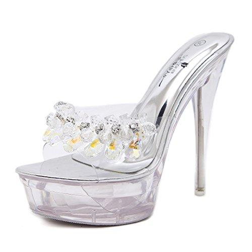 de XiaoGao Zapatillas 14 cristal sandalias tacon de noche de cm Plateado alto super tienda AUBA4q