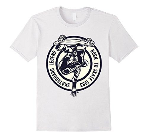 Mens skateboard design t shirt retro vintage classic skate tees Large White