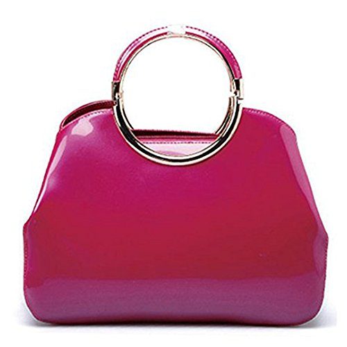 Manka Vesa Women's Classic Vintage Minimalist Stylel Elegant Patent Leather Fashion Evening Handbag Clutch Small Tote Rose Red