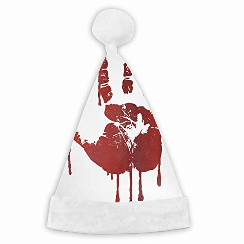 Bloody Hand Print Christmas Santa Hat Party Caps for Childrens and Adults Family Party ()