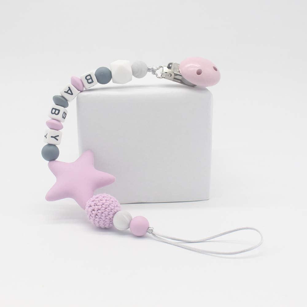 Tingz 2pcs Chupete Clip Baby Soother Chains,Prevenir la p/érdida del pez/ón Cute Baby Dummy Clips Chain,Dentici/ón Cuentas de silicona con formas /únicas-Lo mejor para los juguetes de mordedor(Azul/&rosa)