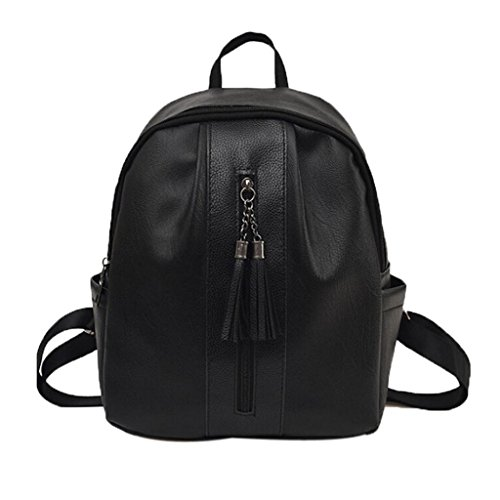 Backpack Shoulderbags With Backpack Women For Leather Black Black Girl Tassel Creazrise Women'S ZfnI8wxZX